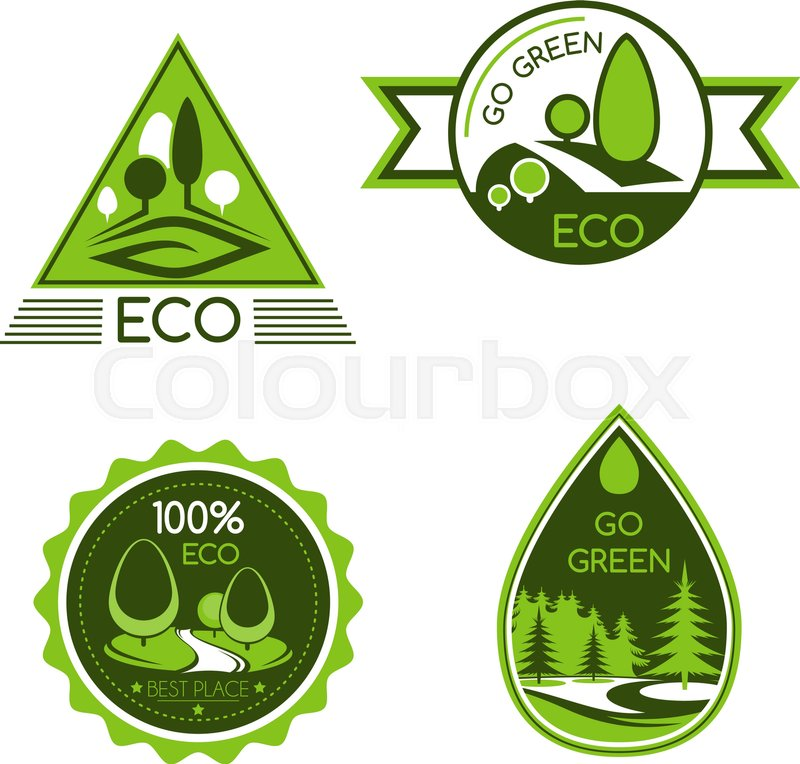 Go Green Vector Icons Nature And Environment Protection Symbols Of