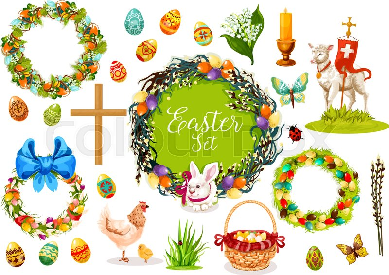 Easter Icon Set Easter Egg Rabbit Bunny Chicken Chick Lamb Of