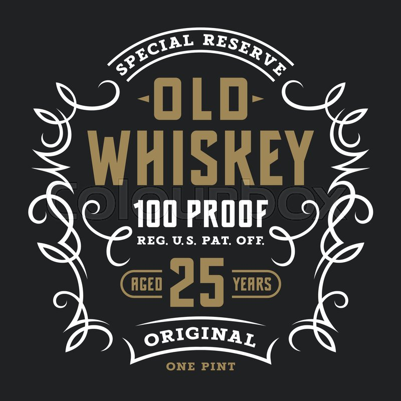 Labeltemplate | Vintage Whiskey Label Template Calligraphic Design Elements T