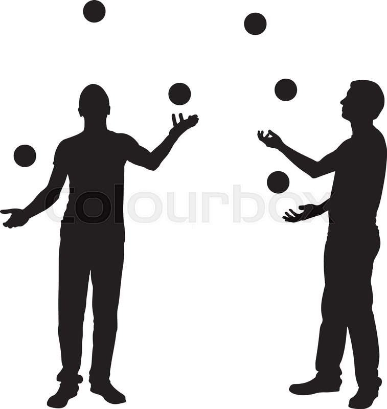 silhouettes of men juggling balls isolated on white stock vector rh colourbox com man juggling vector juggling clown vector