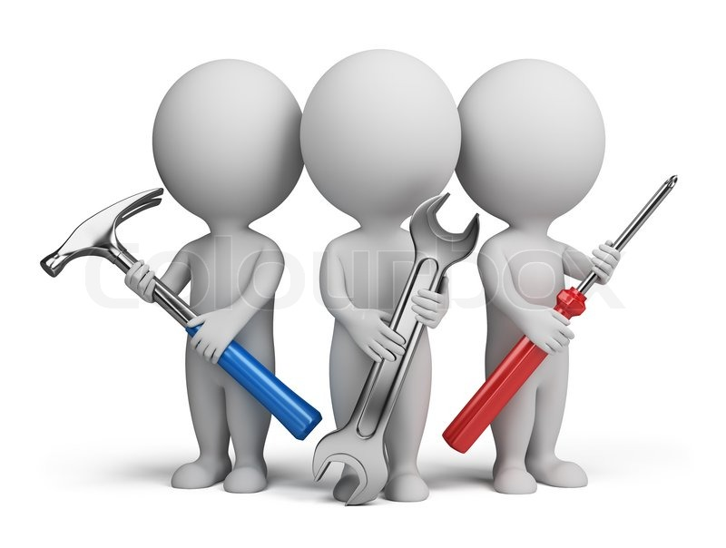 Three 3d People With The Tools In The Hands Of Stock