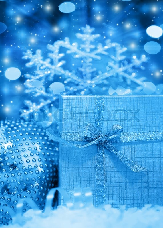 Blue Winter Holiday Background With Present Gift Box
