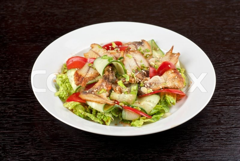... image of 'Salad of smoked eel, lettuce,Chinese cabbage and vegetables