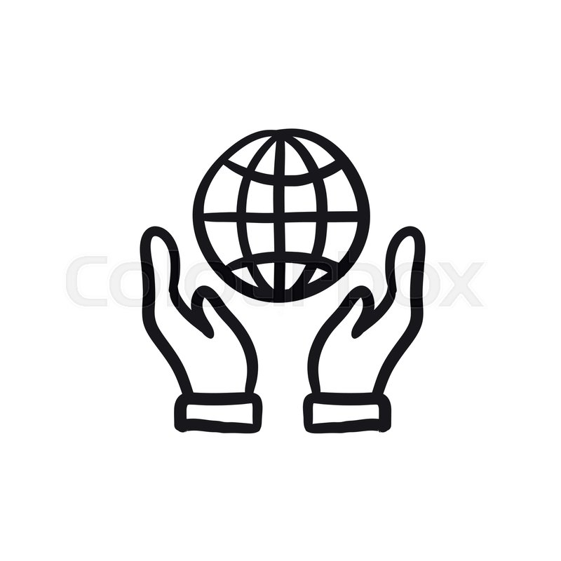 Two Hands Holding Globe Vector Sketch Icon Isolated On Background