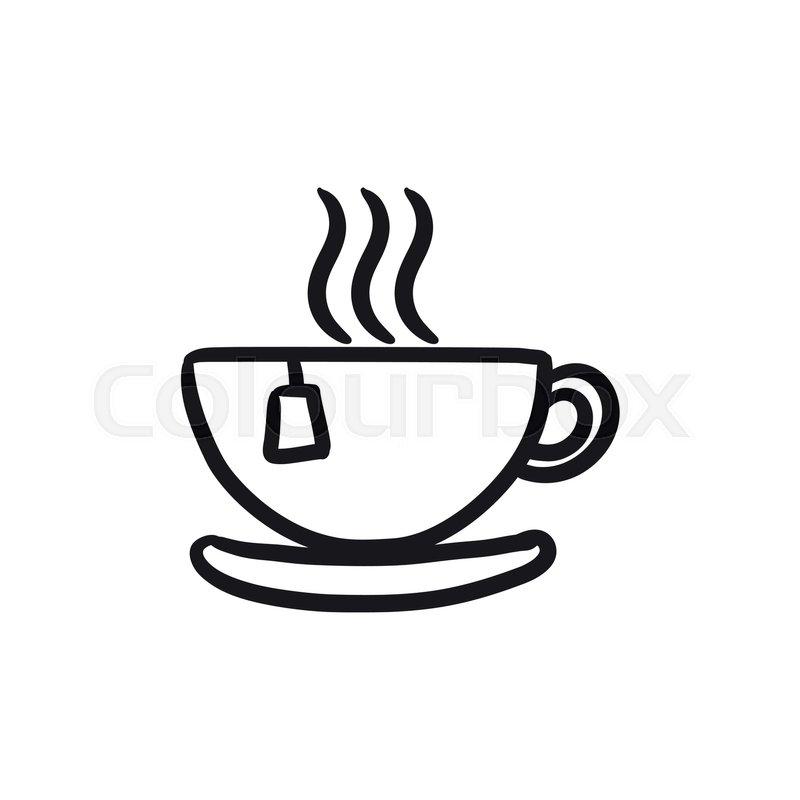 hot tea in cup vector sketch icon stock vector colourbox hot tea in cup vector sketch icon