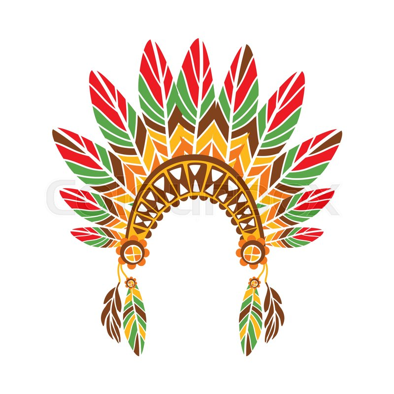 Chief War Bonnet With Feathers , Native Indian Culture Inspired Boho ...
