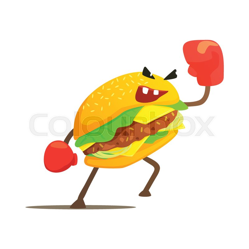 burger sandwich box fighter in gloves stock vector colourbox burger sandwich box fighter in gloves