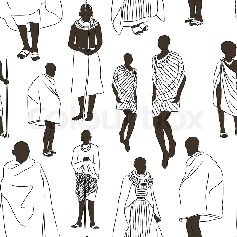 Maasai Couple African People Pattern ...