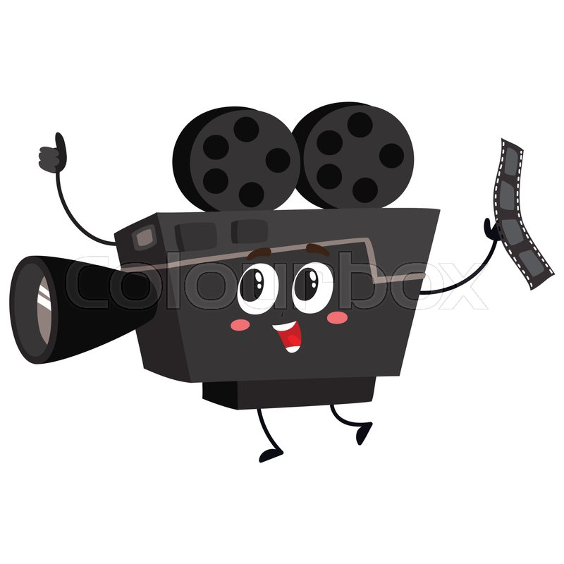 cute and funny vintage film reel camera character with