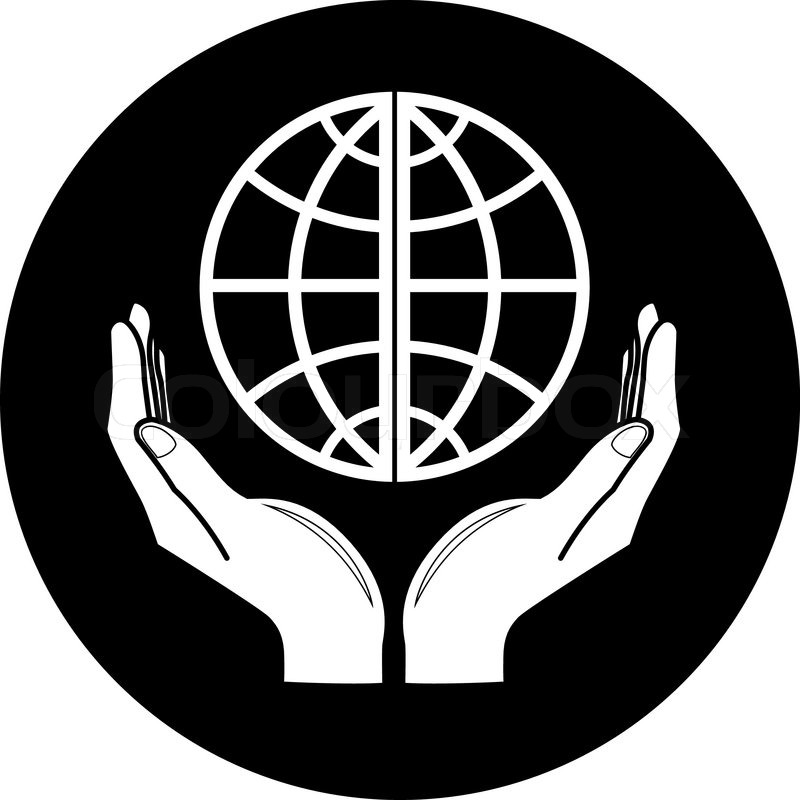 Vector globe in hands icon Black and white Simply change ...