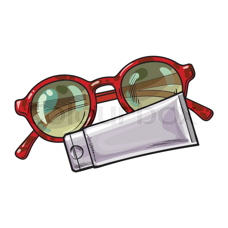 Round sunglasses in plastic frame and sun tan lotion, cream tube ...