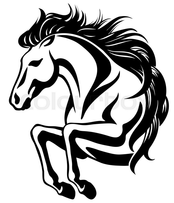 Clip Art Of Jumping Horse With Long