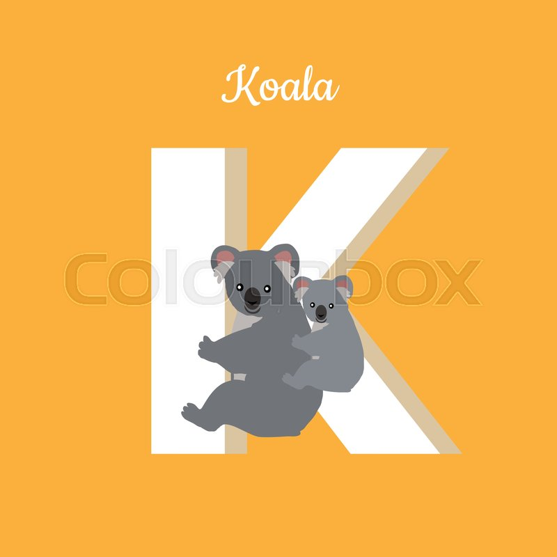 animals alphabet. letter - k. koala with cub hangs on letter