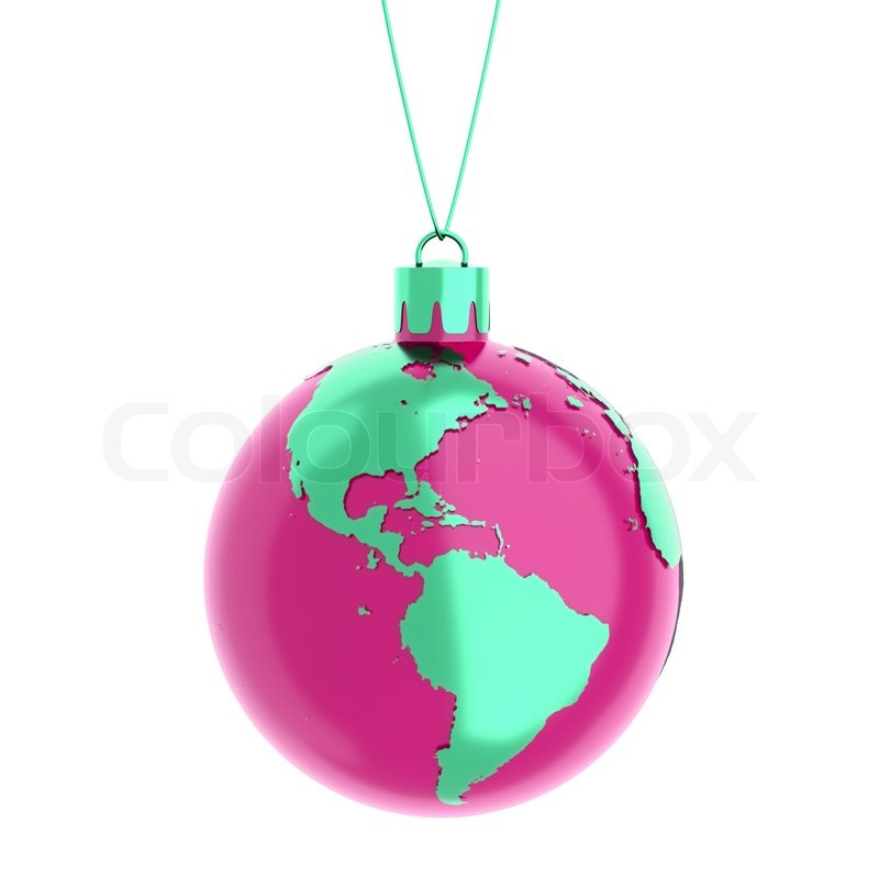 Stock image of 'The earth as a christmas ball isolated on white'