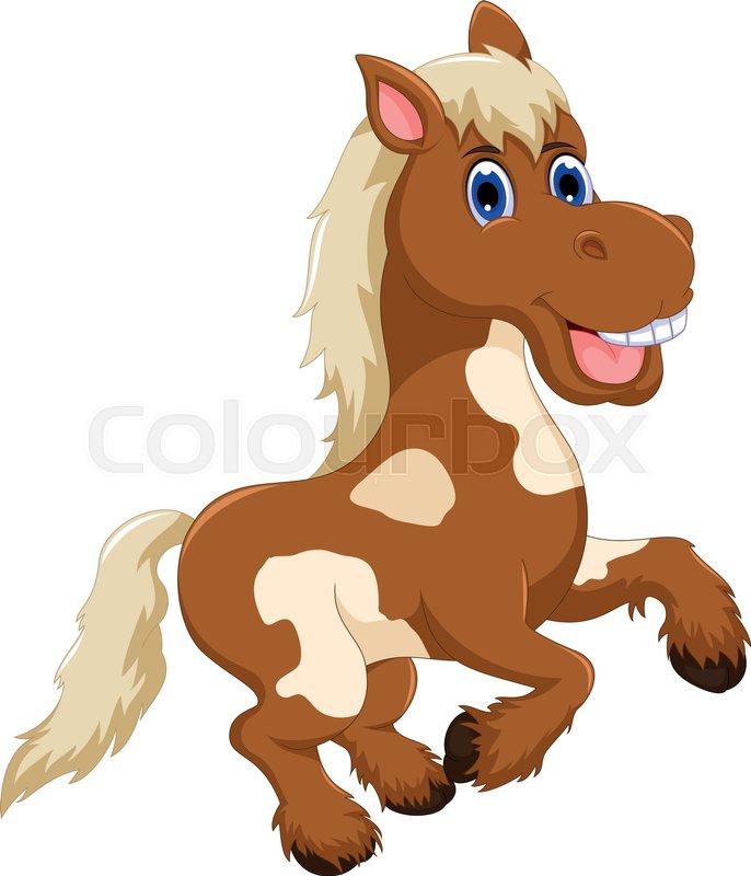 Vector Illustration Of Funny Horse Cartoon Jumping
