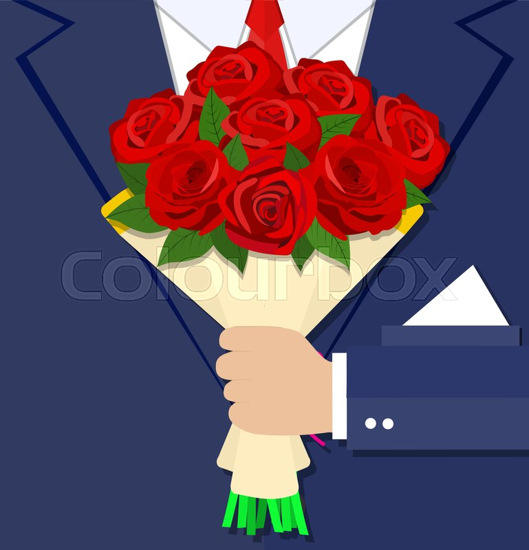 Cartoon businessman hand holding bouquet flowers red rose . vector ...