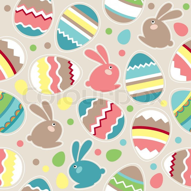 seamless spring pattern with easter eggs and rabbits stock vector