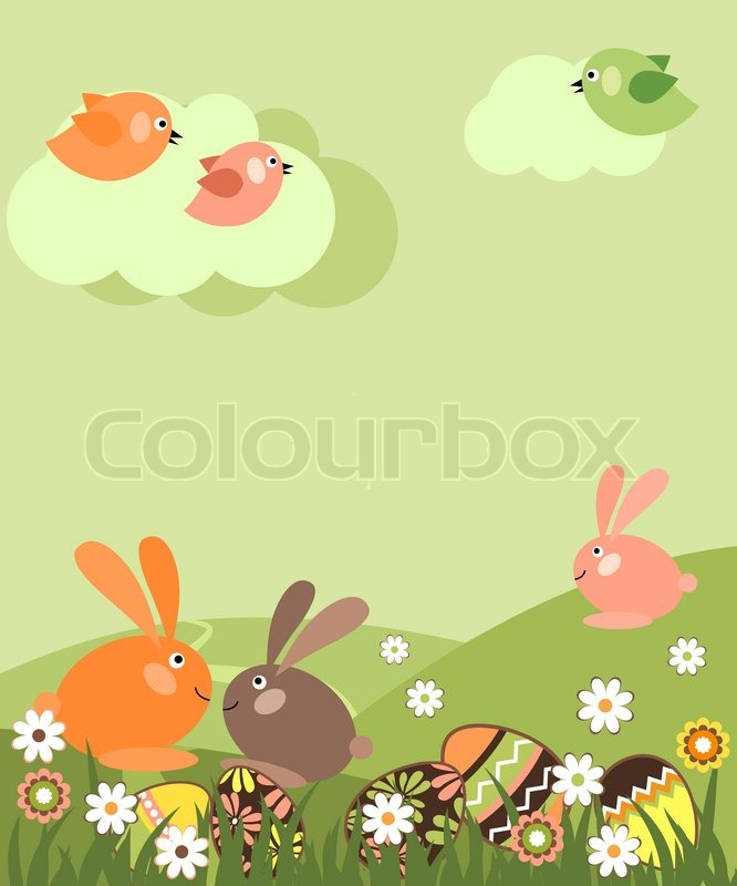 spring easter landscape with eggs and rabbits stock vector colourbox