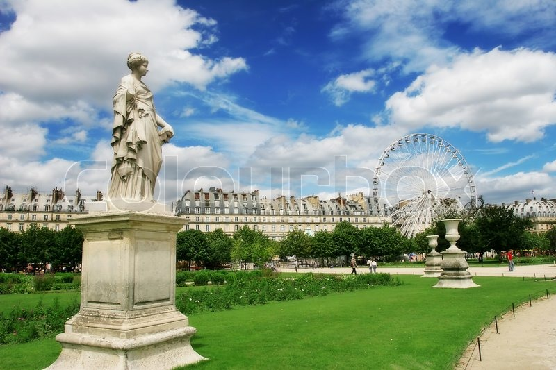 sculptures in famous tuileries garden jardin des tuileries near louvre museum in paris france. Black Bedroom Furniture Sets. Home Design Ideas