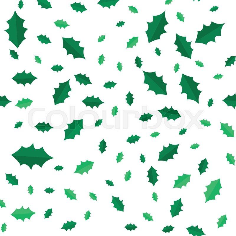 Mistletoe Christmas Tree Leaves Seamless Pattern Green Branches Simple Cartoon Style Evergreen Wallpaper Design Endless Texture