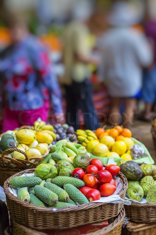 Stock image of 'FUNCHAL, PORTUGAL - JUNE 25: Fresh exotic fruits in Mercado Dos Lavradores.on June 25, 2015 in Madeira Island, Portugal.'