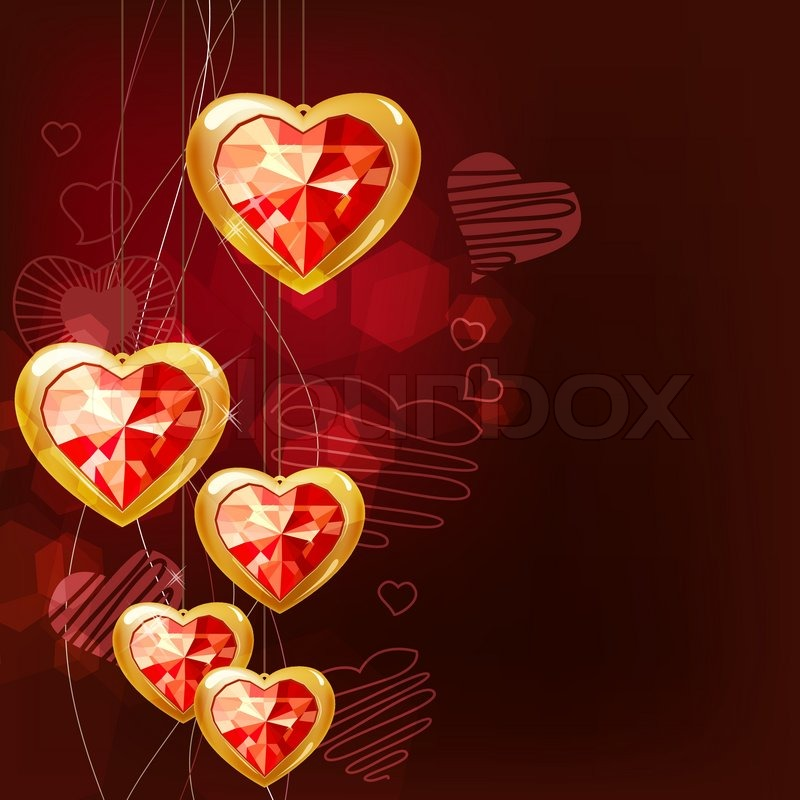 Ruby Gold Hearts Hanging On Red Background
