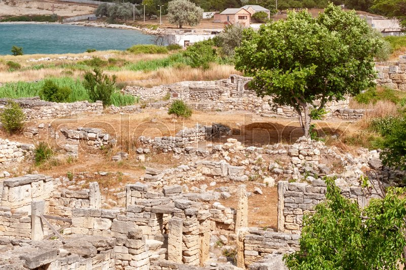 The remains of the ancient city of Chersonesus. Founded by the ancient Greeks. Hersones ruins, archaeological park, Sevastopol, Crimea, stock photo