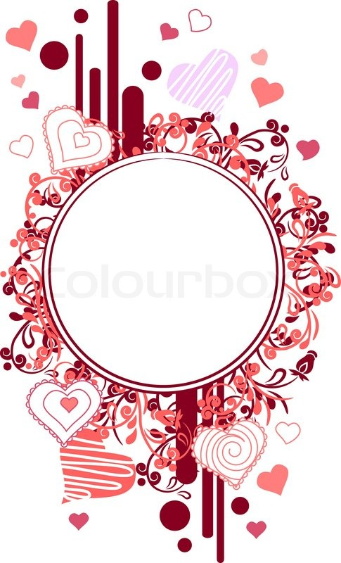 Frame made of red contour heart shapes | Stock Vector | Colourbox