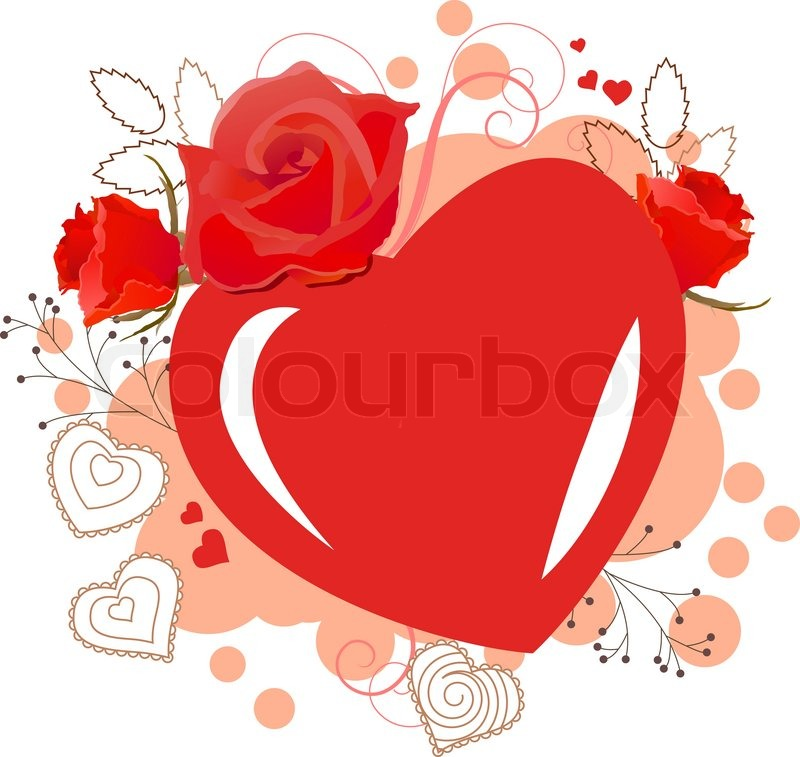 Bright red heart-shaped frame with roses and swirls | Stock Vector ...