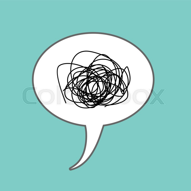 Tangled thoughts Comic speech Bubble isolated. Place for text ...