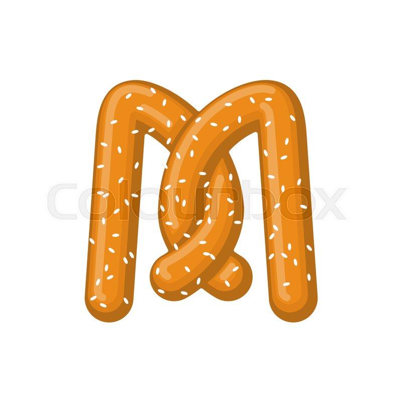 Letter M Pretzel Snack Font Symbol Food Alphabet Sign Traditional