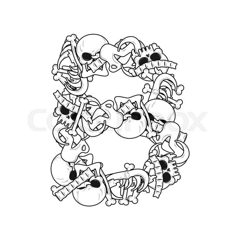Letter B skeleton Bones Font. Anatomy of an alphabet symbol. dead ...