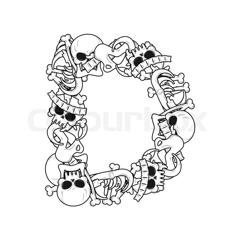Letter D Skeleton Bones Font Anatomy Of An Alphabet Symbol Dead