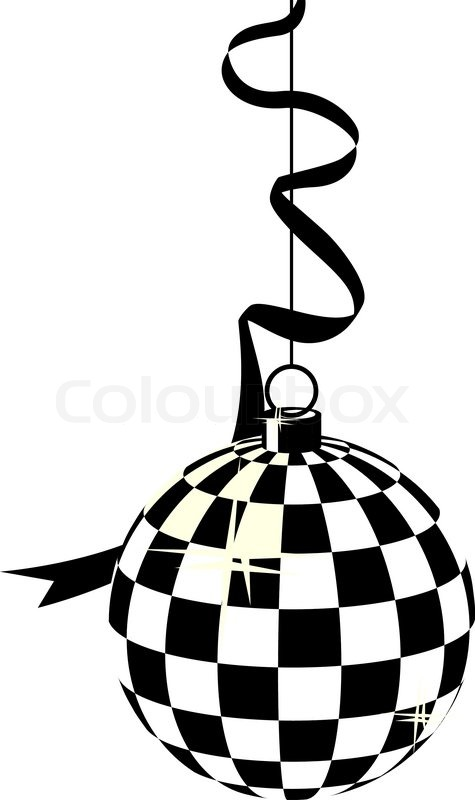 stylized black and white hanging disco ball and ribbon stock rh colourbox com disco ball clipart disco ball clip art free
