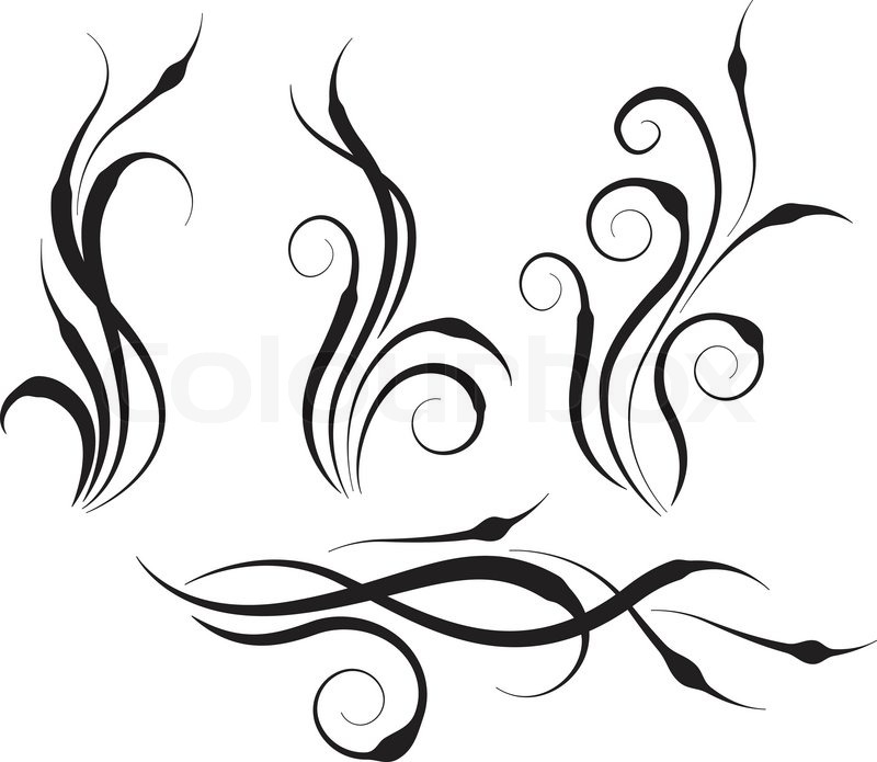 four swirl abstract branches of abstract plants stock vector colourbox. Black Bedroom Furniture Sets. Home Design Ideas