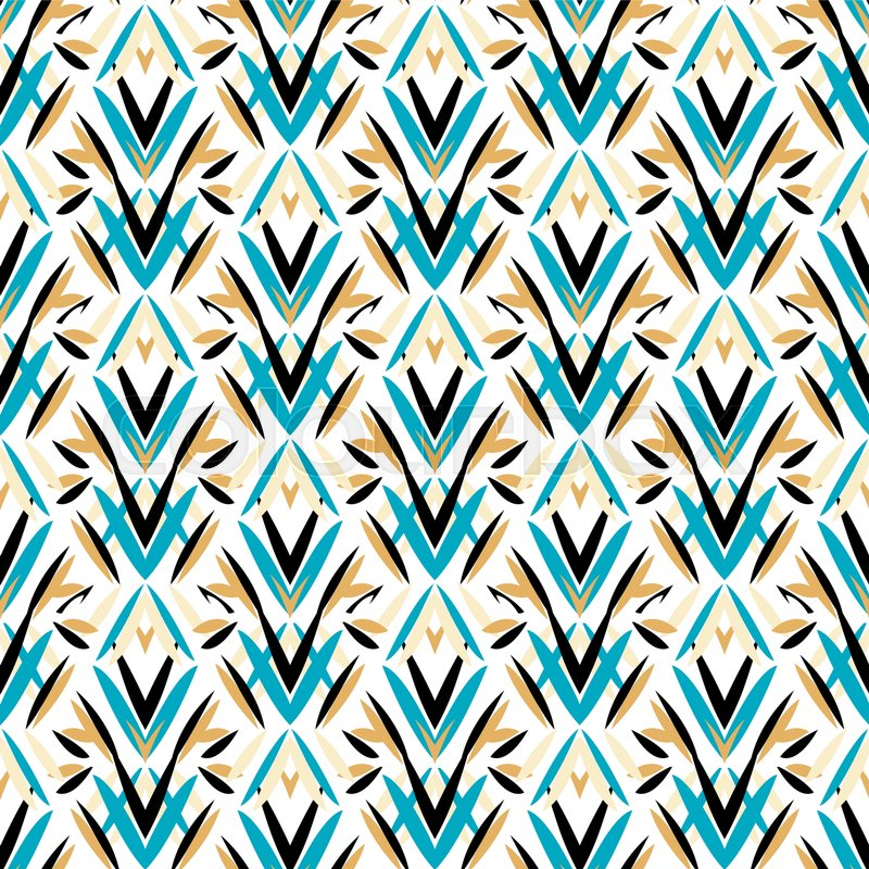 Vector art deco pattern with floral motifs 1920s fashion style ...