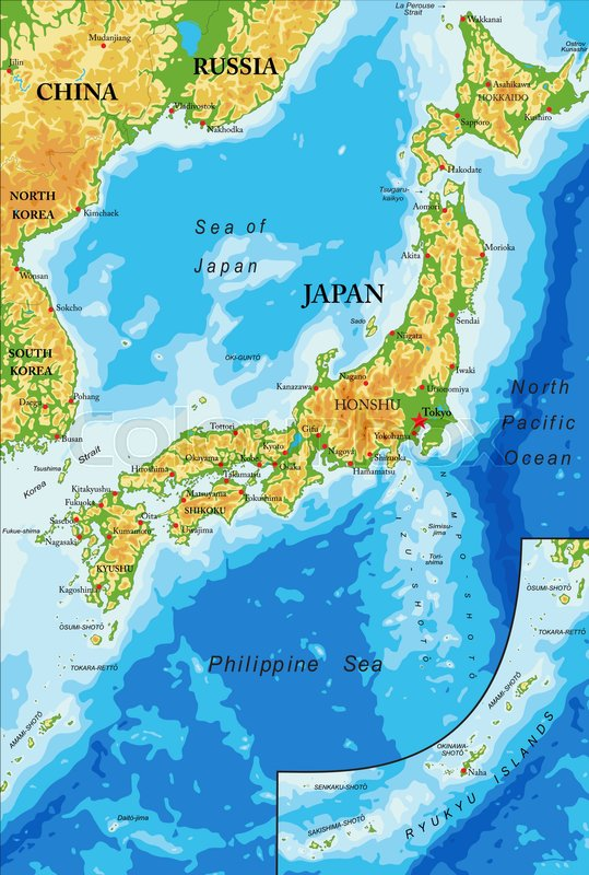 Great Highly Detailed Physical Map Of Japan,in Vector Format,with All The Relief  Forms,regions And Big Cities. | Stock Vector | Colourbox