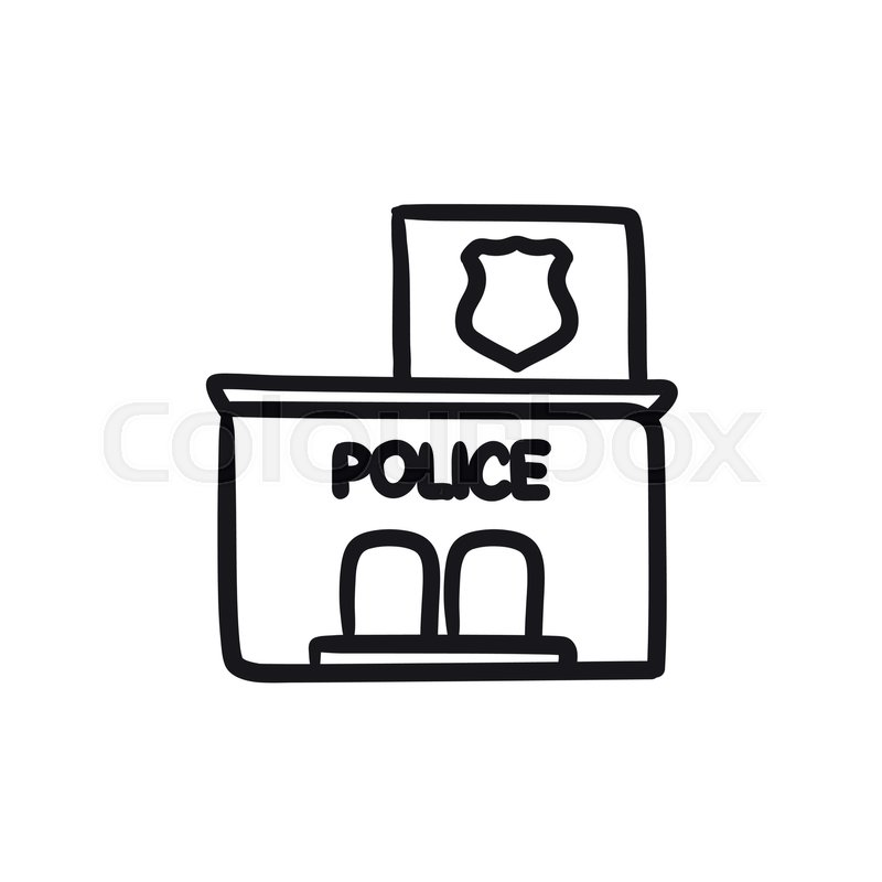 Police Station Vector Sketch Icon Isolated On Background Hand Drawn