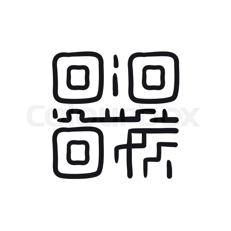 Qr Code Vector Sketch Icon Isolated On Stock Vector Colourbox