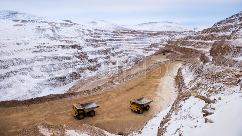 Big career. Gold mining. Panoramic view at winter time, stock photo