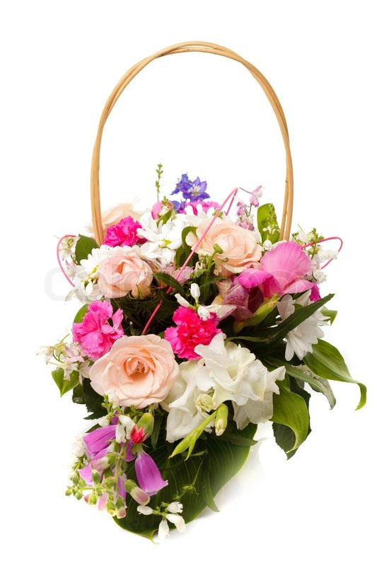 bouquet aus verschiedenen rosa blumen der saison von september in korb isoliert auf wei. Black Bedroom Furniture Sets. Home Design Ideas