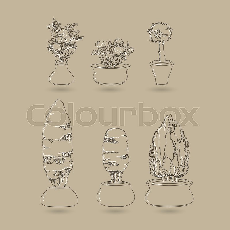 house plants drawing. vector set of black doodle hand drawn line art house plants in ceramic pots on taupe flowers for interior and garden backgrounds floral design drawing