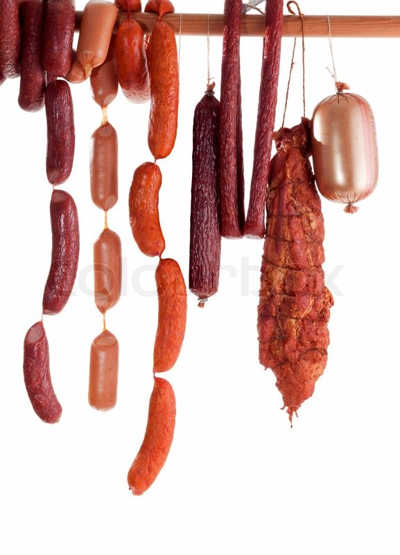 Hanging Sausage Isolated On White Background For You Image 2464584