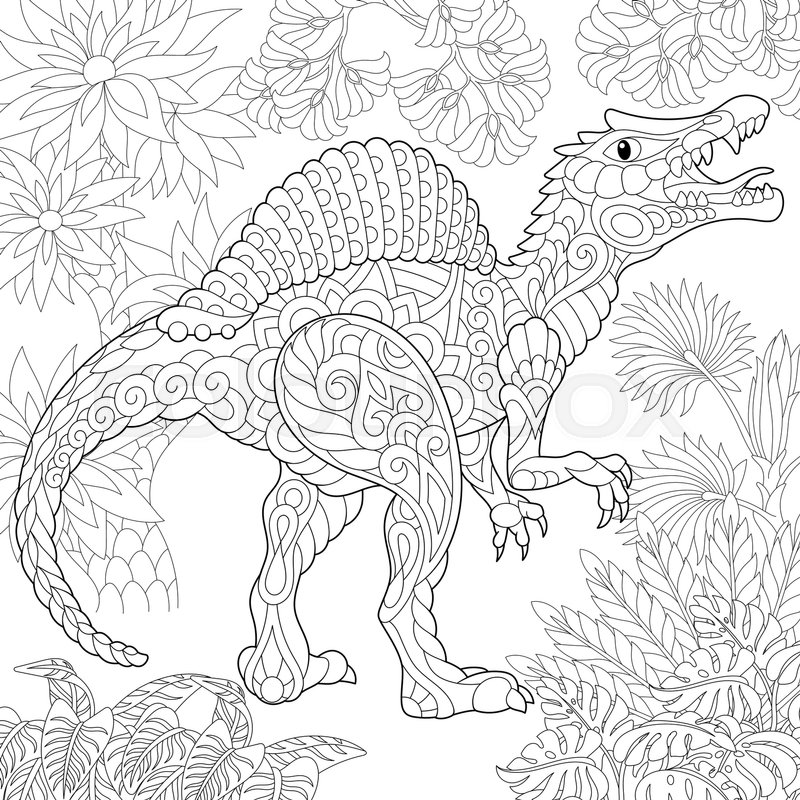 Stylized Spinosaurus Dinosaur Of The Middle Cretaceous Period Freehand Sketch For Adult Anti Stress Coloring Book Page With Doodle And Zentangle Elements