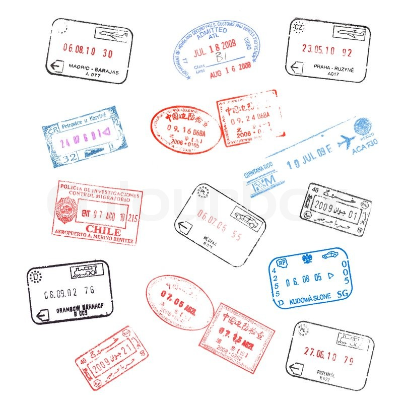 Set Of Various Passport Visa Stamps On White Background Stock Photo Colourbox