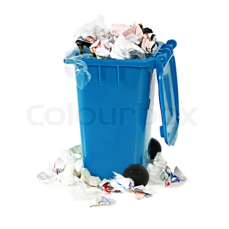 Overflowing Blue Garbage Bin On White Background Stock