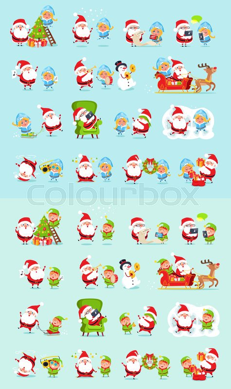 santa and his helpers big set santa claus reindeer snow maiden ice princess elf father christmas daily activities stickers winter fun with santa and - Santa Activities
