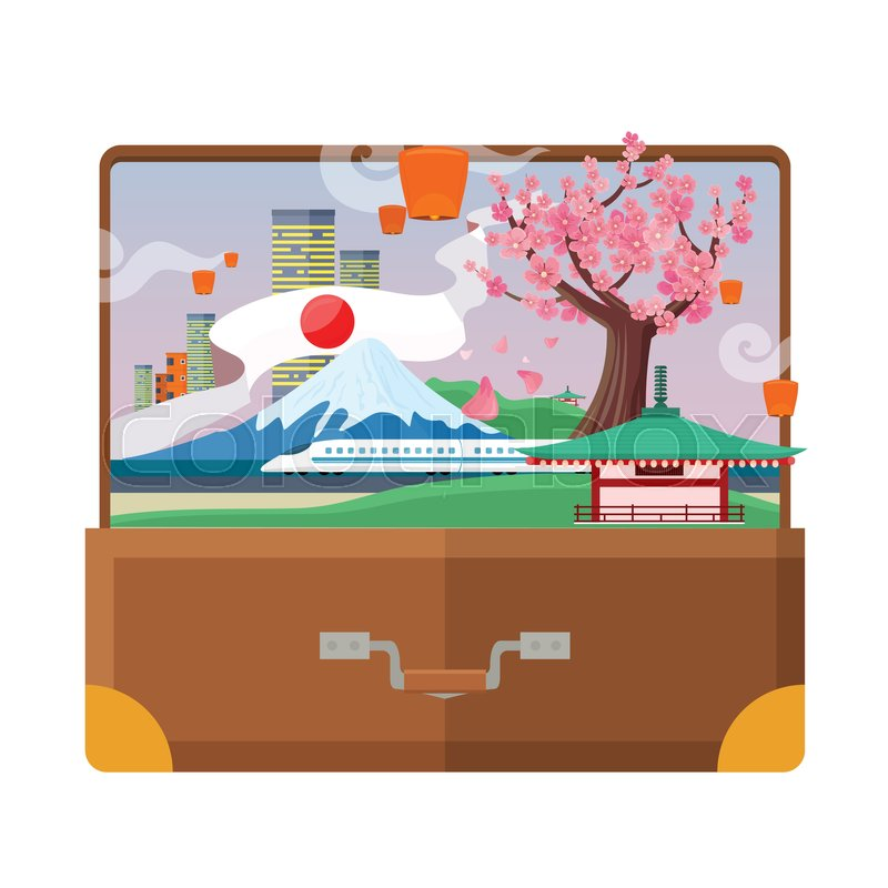Traveling to Japan concept in suitcase. Flat style. Vacation journey in Asia. City landscape, mount Fuji, air lanterns, sakura, pagoda, train. Japanese tourist attractions. For travel company ad, vector