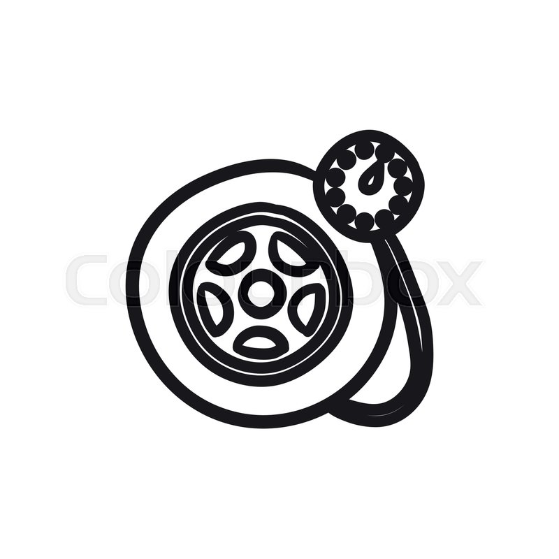 Pressure Gauge Tyre Vector Sketch Icon Isolated On Background Hand