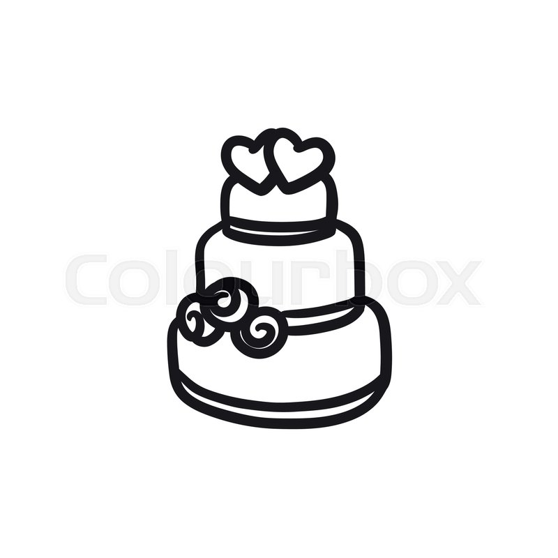 wedding cake box design vector wedding cake vector sketch icon isolated on background 22061